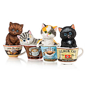 "Kayomi Harai ""Coffee Cats"" Kittens in Coffee Cups Figurines"
