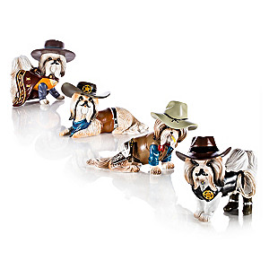Spurs 'N Fur Shih Tzu Cowboy Figurine Collection