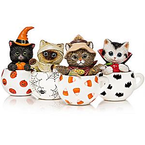 "Kayomi Harai ""Purr-fect Brew"" Halloween Cat Figurines"