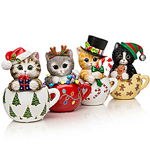 Kayomi Harai's Meow-y Christmas Cups Cat Figurine Collection