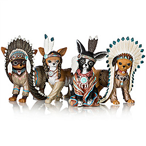"""Feathers 'N Fur"" Chihuahua Wild West Figurine Collection"