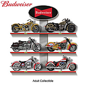 Budweiser Motorcycle Sculpture Collection With Display