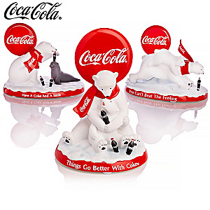 """COCA-COLA Polar Bears"" Hand-Painted Figurine Collection"