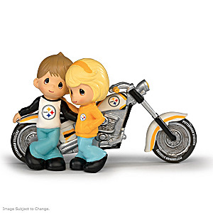 Precious Moments Steelers Couple Motorcycle Figurines