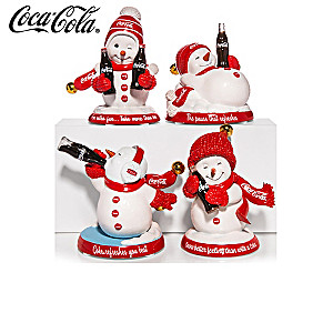 COCA-COLA Snowman Figurines With Jingle Bells
