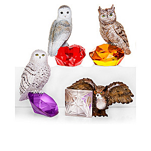 Nene Thomas Rare Gem-Inspired Owl Figurine Collection