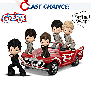 Precious Moments Grease Figurine Collection With Car Display