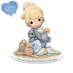 """Precious Moments """"Home Is Where My Bunnies Are"""" Figurines"""