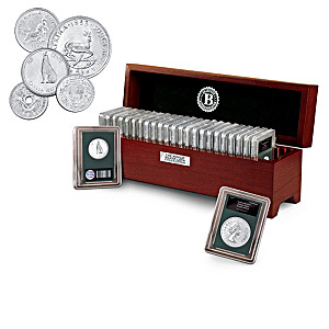 World Silver Coin Collection With Deluxe Wooden Display Box