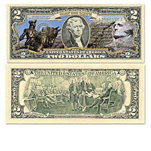 U.S. $2 Bills Honoring Historic Presidents With Display Box