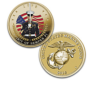 The USMC 150th Anniversary Coin Collection With Display Box