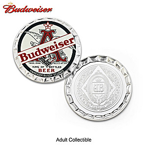 Budweiser Bottle Cap-Shaped Proof Coins With Display