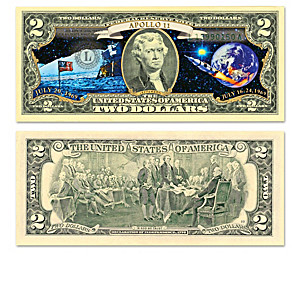 U.S. Space Race $2 Bills Collection With Display Box