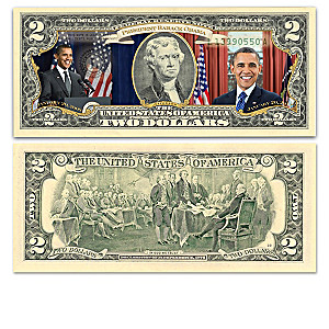 President Obama Legacy $2 Bill Collection With Display Box