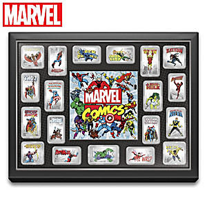 MARVEL Comics Silver Age Hero Ingot Collection With Display