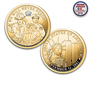 9/11 20th Anniversary 24K Gold-Plated Proof Coin Collection