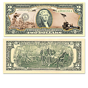 World War II Battles $2 Bills Collection With Display Box