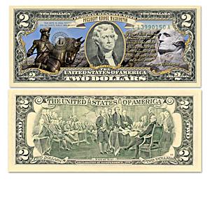 U.S. $2 Bills Honoring Historic Presidents With Display Box
