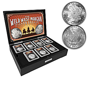 The Wild West Morgan Silver Dollar Coins With Deluxe Display