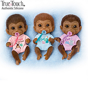 Miniature Full Body Silicone Monkey Dolls With Pacifiers