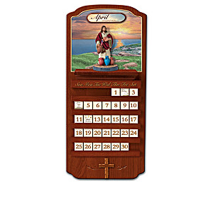 Miracles Of Jesus Perpetual Calendar With Olive Wood Cross