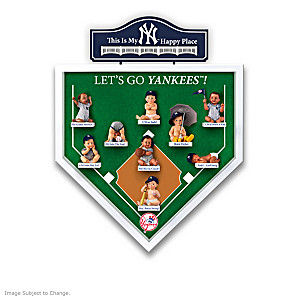 """NY Yankees """"Happy Place"""" Miniature Baby Dolls And Display"""