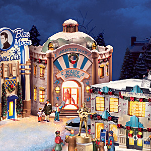 "Elvis ""Rock And Roll"" Lighted Christmas Village Collection"