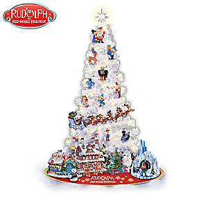 rudolph illuminated christmas tree collection with figurines - Rudolph Christmas Decorations