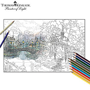 Thomas Kinkade Adult Coloring Kit Collection With Pencils