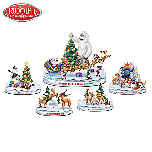 Rudolph Christmas Figurine Collection With Lights And Music