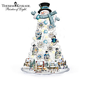 Thomas Kinkade Pre-Lit Tabletop Snowman Tree Collection