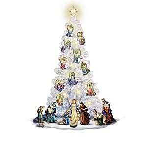 """Glory Of Christmas"" Illuminated Christmas Tree And Nativity"