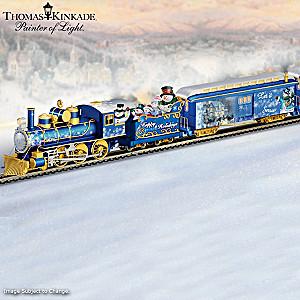 Thomas Kinkade Illuminated Holiday Snowman Train Collection