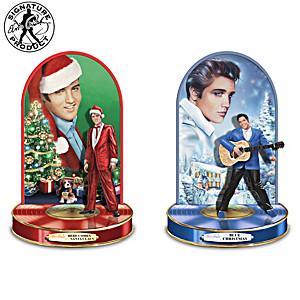 Elvis Christmas Memories Sculptures Light Up & Play Music