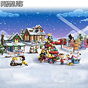 PEANUTS Illuminated Christmas Village With Figurines