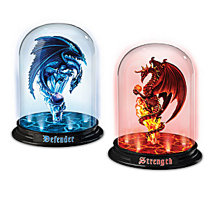 """Dragons Of The Mystic Realm"" Illuminated Glass Domes"