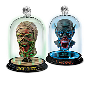 Heads Of Horror Illuminated Glass Dome Sculpture Collection
