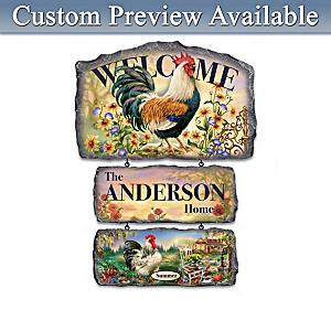 Dona Gelsinger Personalized Rooster Welcome Sign Collection