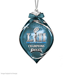Eagles Super Bowl LII Lighted Glass Ornament Collection