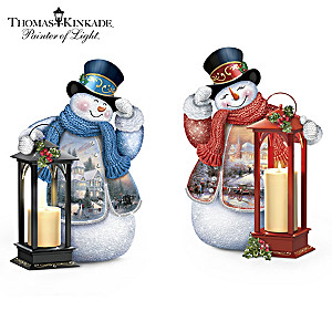 Thomas Kinkade Lighted Musical Snowman Lantern Collection