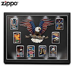 Patriotic Zippo® Lighter Collection With Lighted Display