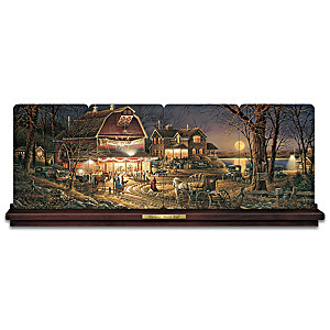 """Terry Redlin """"Harvest Moon Ball"""" Panorama Plate Collection"""