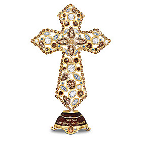 """Facets Of Faith"" Mosaic Crystal Musical Cross Collection"