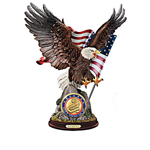 Patriotic Eagle Sculpture Collection With Challenge Coins