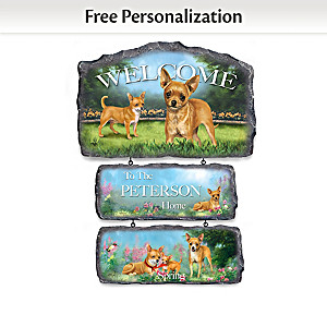 Linda Picken Chihuahuas Personalized Welcome Sign Collection