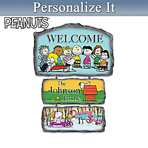 """The PEANUTS Gang"" Personalized Seasonal Welcome Sign"
