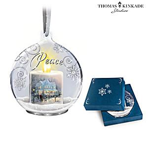 Thomas Kinkade Illuminated Flameless Candle Glass Ornaments