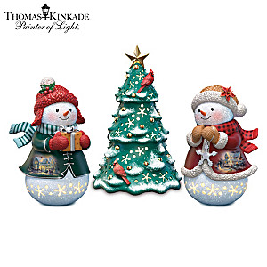 Thomas Kinkade Winter Figurines With Rotating Light