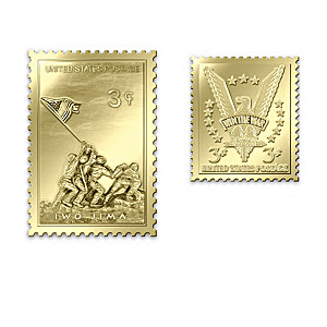 22K Gold Replica WWII Commemorative Stamps