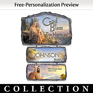 Greg Olsen God Bless This Home Personalized Sign Collection